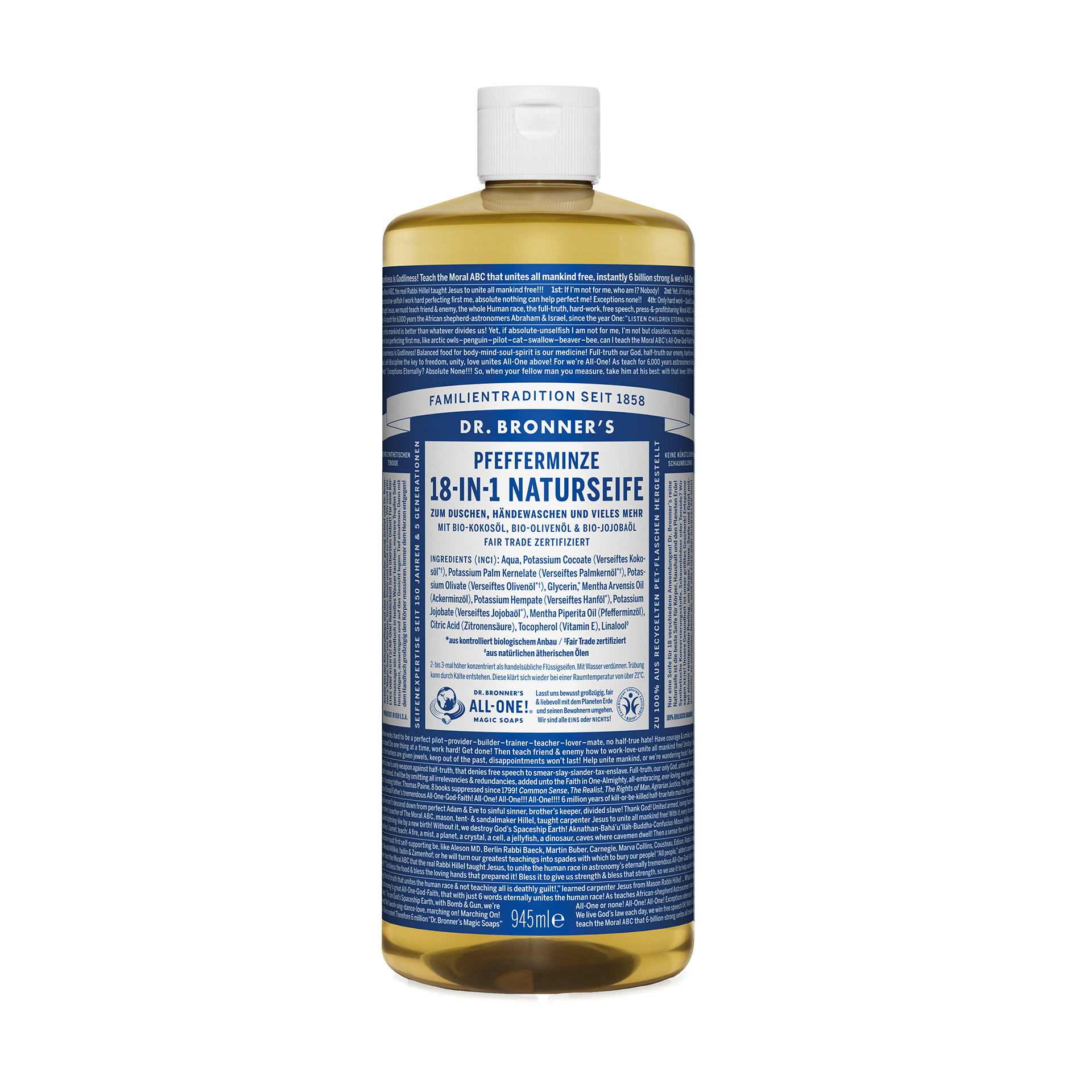 Dr. Bronner's 18-in-1 Naturseife, Pfefferminze, 945 ml