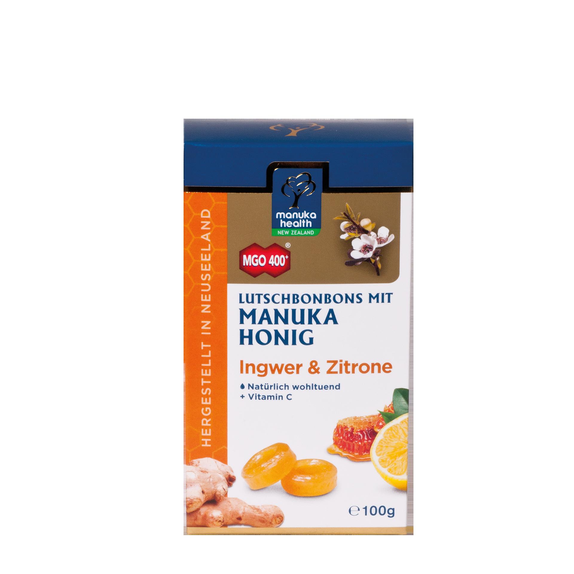 Manuka-Honig Lutschbonbons, Ingwer & Zitrone, 100g