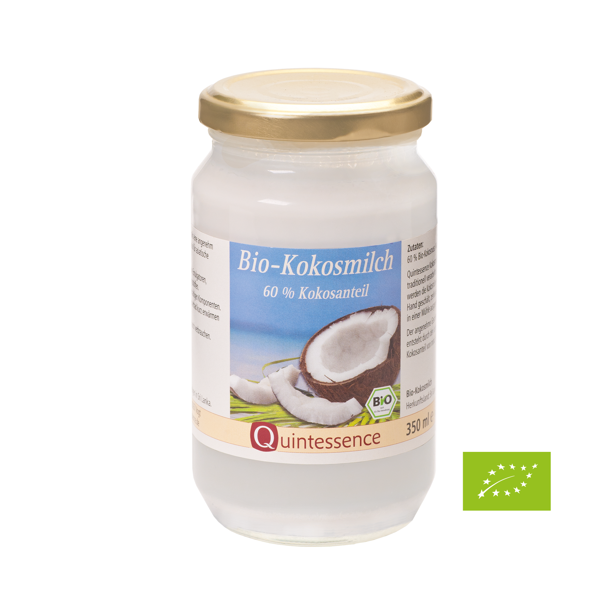 BIO-Kokosmilch, Quintessence, 350 ml - im Glas