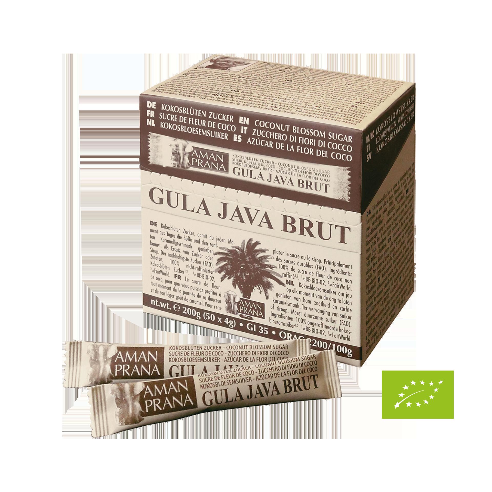 Gula Java Brut, BIO, 50 x 4 g Sticks