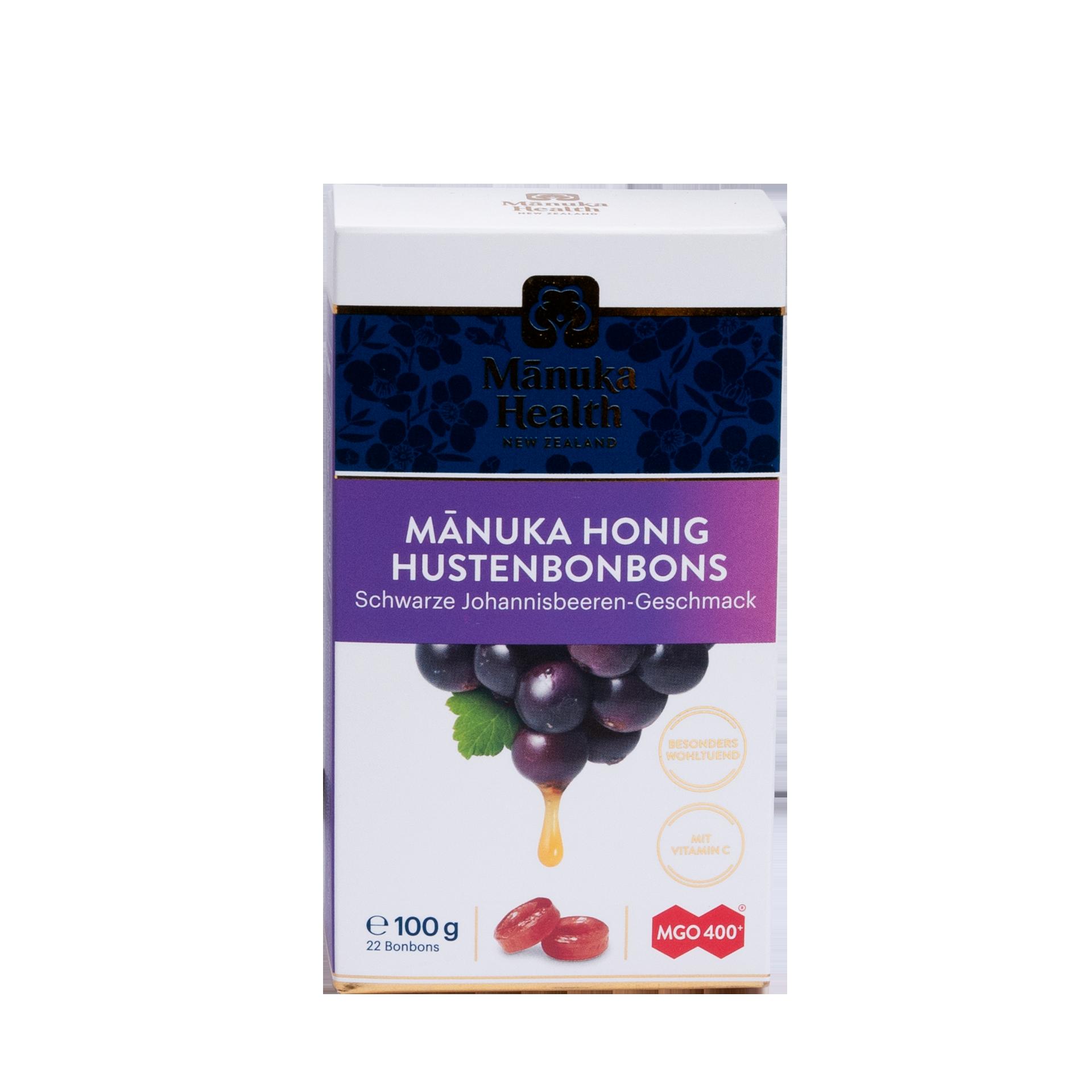 Manuka Honig Lutschbonbons, Schwarze Johannisbeere, 100 g