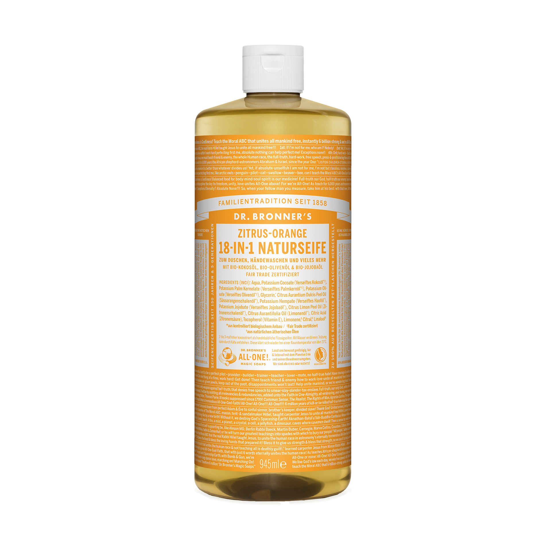 Dr. Bronner's 18-in-1 Naturseife, Zitrus-Orange, 945 ml