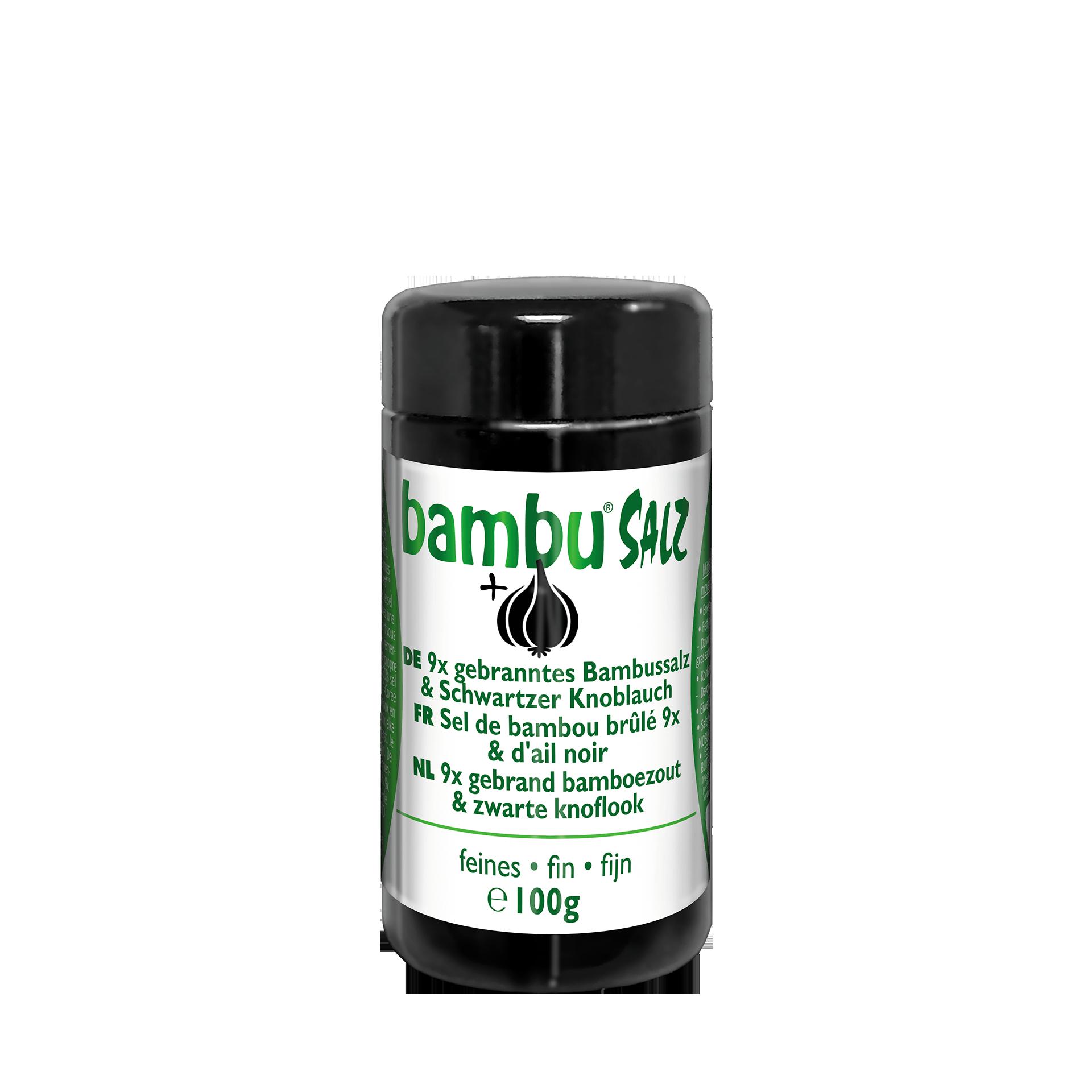 9 x gebranntes Bambussalz mit schwarzem Knoblauch, 100 g