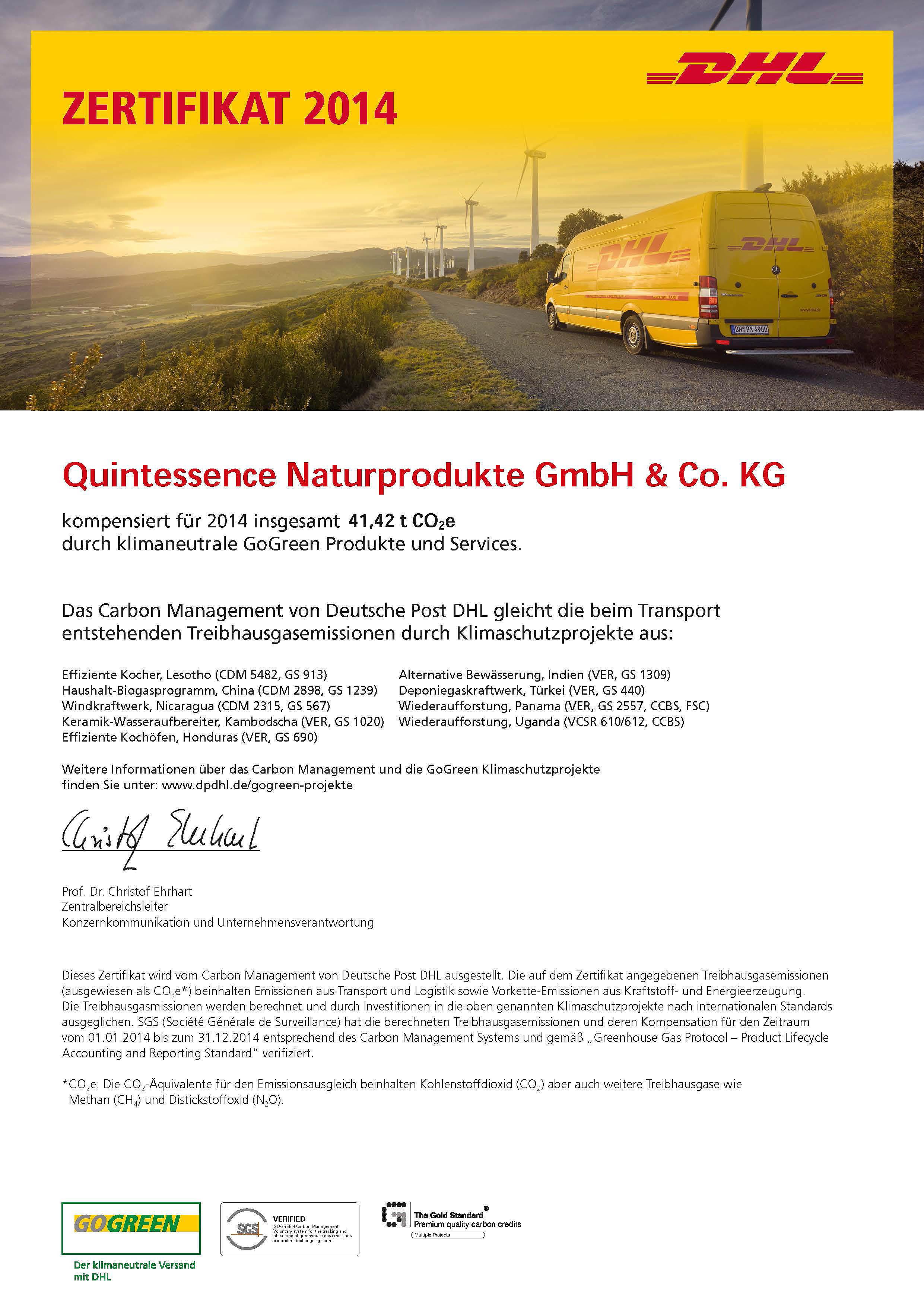 DHL-GoGreen-Zertifikat 2015