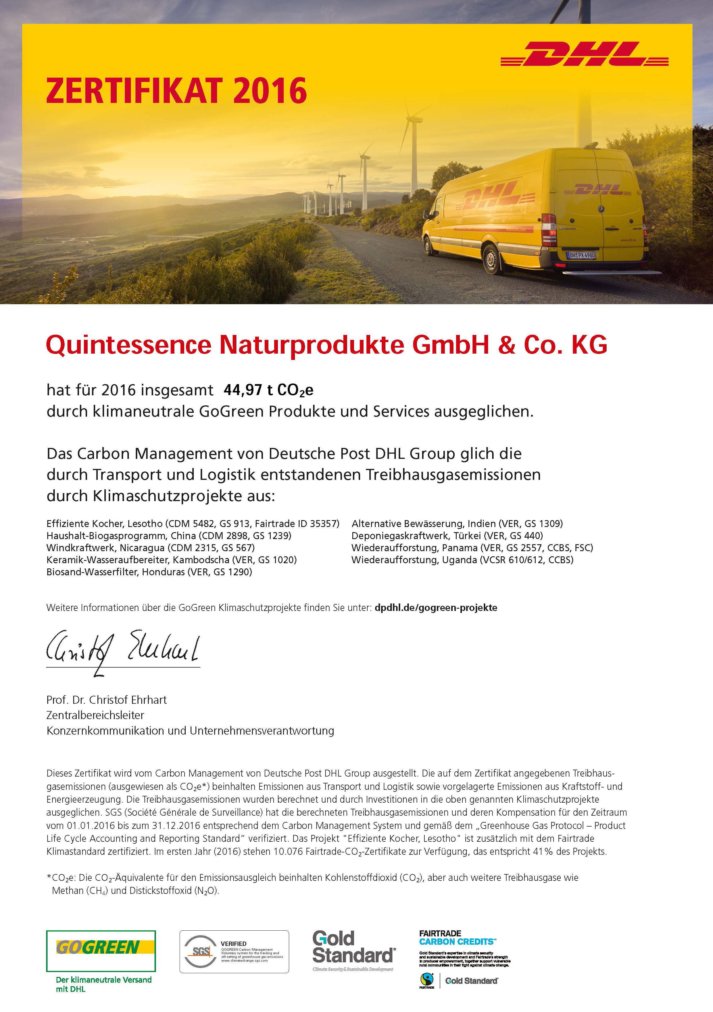 DHL-GoGreen-Zertifikat 2016