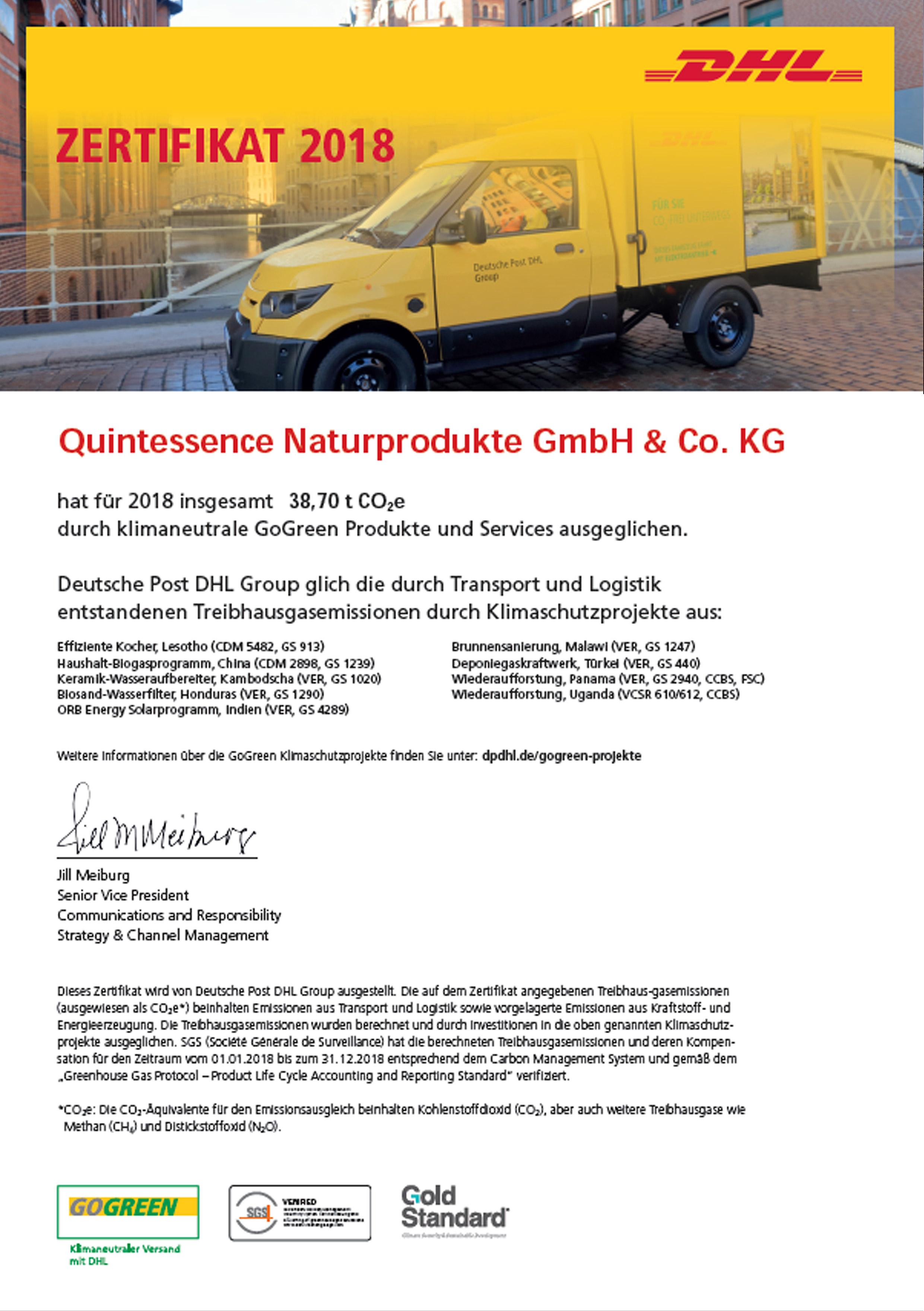DHL-GoGreen-Zertifikat 2018